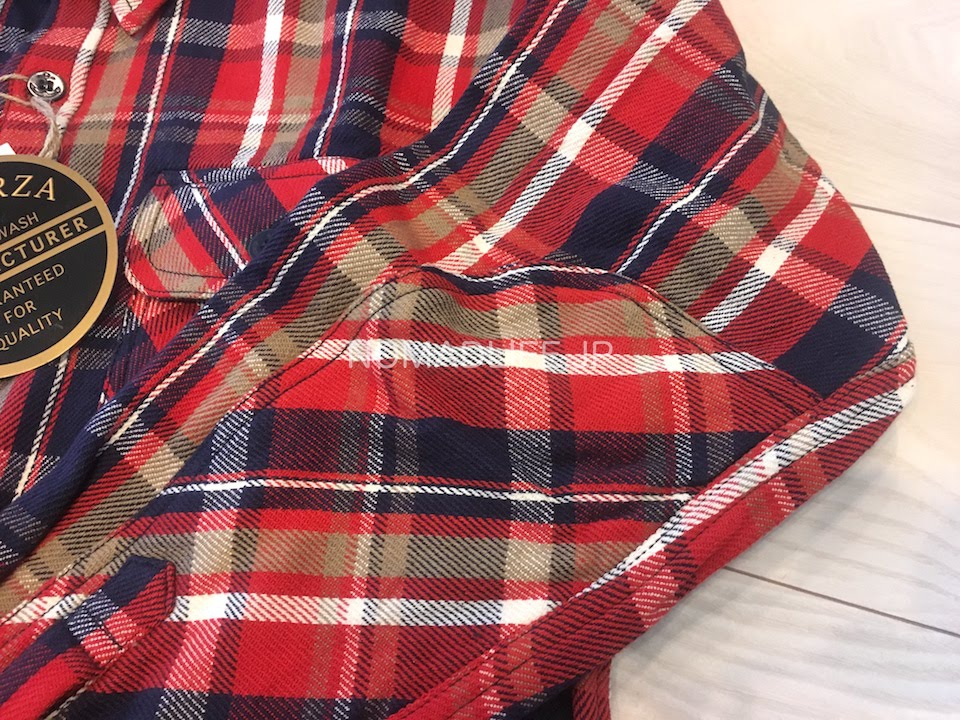 ALCARZA(アルカルザ) チェックシャツ  赤 袖肘部分